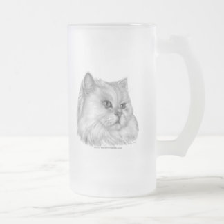 White Persian Cat Frosted Glass Beer Mug