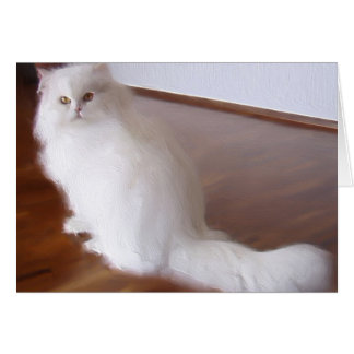 White Persian cat notecard