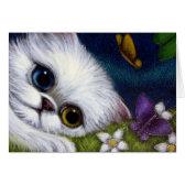 WHITE PERSIAN CAT ODD EYE & BUTTERFLIES Card