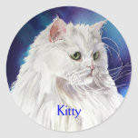 White Persian Cat Personalized Name Custom Sticker