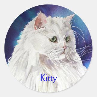 White Persian Cat Personalized Name Custom Sticker