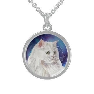 White Persian Cat Portrait Cat Lovers Necklace