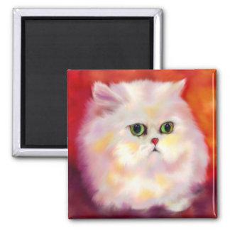 White Persian Cat Portrait Magnet