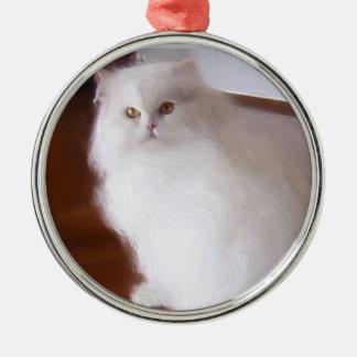 White persian cat round ornament