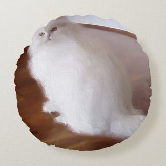 White Persian cat Round Pillow