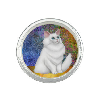 White Persian Cat Silver Ring