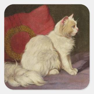 White Persian Cat Square Sticker