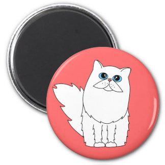 White Persian Cat w/ Blue Eyes Magnet