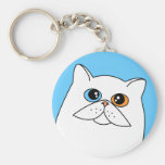 White Persian Cat w/ Odd Eyes Key Chain