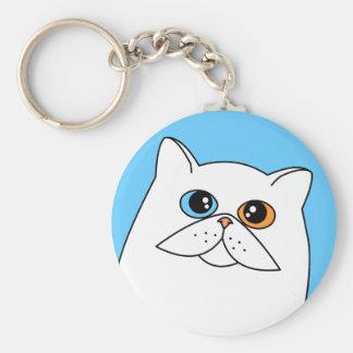 White Persian Cat w/ Odd Eyes Keychain