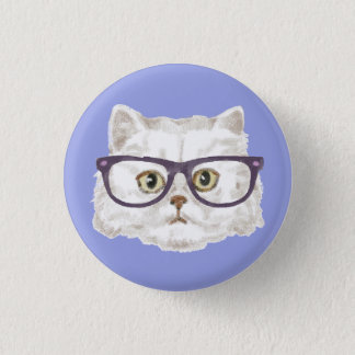 White Persian Cat Wearing Glasses Pinback Button