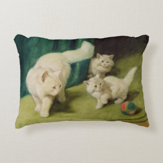 White Persian Cat with Two Kittens Decorative Pillow
