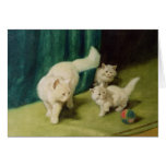 White Persian Cat with Two Kittens Greeting Card
