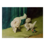 White Persian Cat with Two Kittens Print