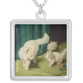 White Persian Cat with Two Kittens Silver Plated Necklace