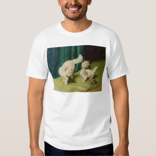 White Persian Cat with Two Kittens Tee Shirts