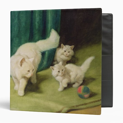 White Persian Cat with Two Kittens Vinyl Binders
