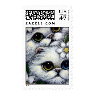 WHITE PERSIAN CATS ODD EYE Postage
