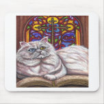 WHITE PERSIAN Church Cat Mouse Pad