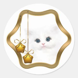 White persian kitten Christmas Round Sticker