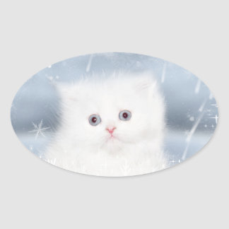 White persian kitten Christmas Oval Sticker