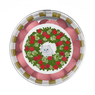 White Persian Kitten in Wreath Gum Party Favors