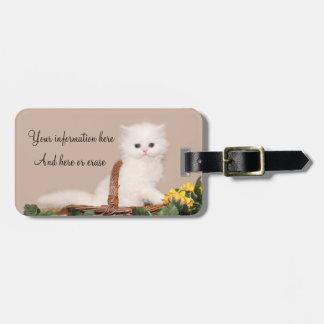White persian kitten travel bag tags