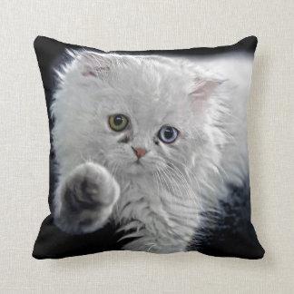 White Persian Kitten Throw Pillow
