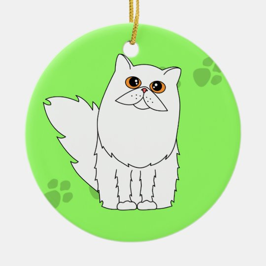 White Persian / Longhaired Cat Pawprints Ceramic Ornament