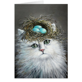 White Persian With Bird s Nest Card