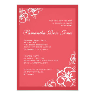 White & Persimmon Hibiscus Flowers Bridal Shower 5x7 Paper Invitation Card