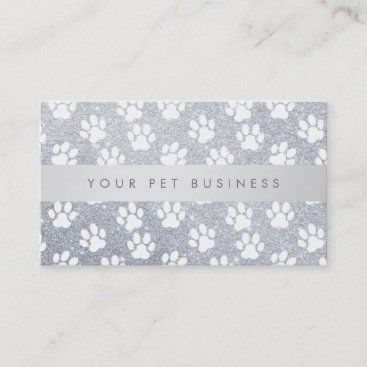 white pet paw prints on faux silver glitter business card