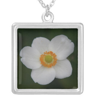white petals silver plated necklace
