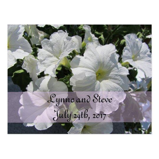 White Petunia Save the Date Postcard