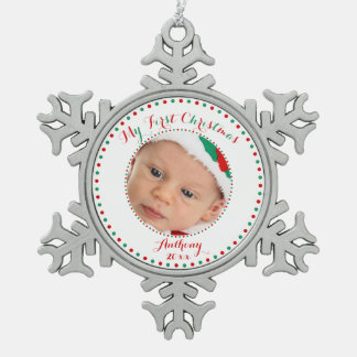 White Pewter Custom First Christmas Ornament
