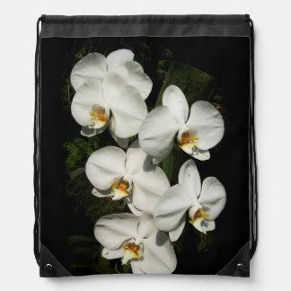 White phalaenopsis orchids drawstring backpack