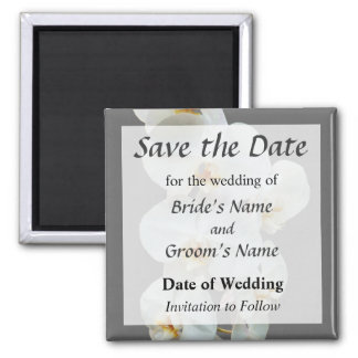 White Phalaenopsis Orchids Save the Date 2 Inch Square Magnet