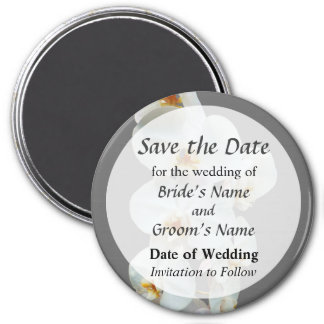 White Phalaenopsis Orchids Save the Date 3 Inch Round Magnet