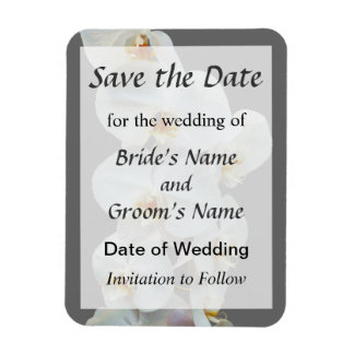 White Phalaenopsis Orchids Save the Date Rectangular Photo Magnet
