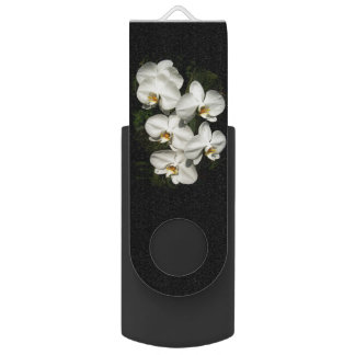 White phalaenopsis orchids USB flash drive