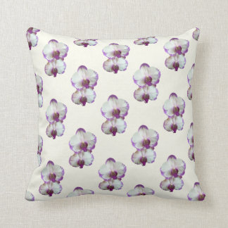 White Phalaenopsis Orchids With Pruple Edges Throw Pillow