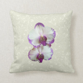 White Phalaenopsis Orchids With Purple Edges Throw Pillow