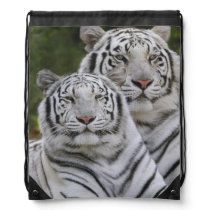 White phase, Bengal Tiger, Tigris Drawstring Bag