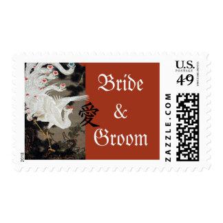 White Phoenix Wedding Sticker Kanji For Love Postage