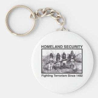 White Photo Indian Homeland Security Basic Round Button Keychain
