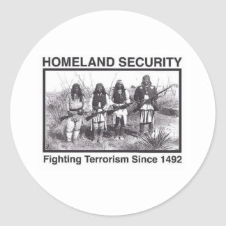White Photo Indian Homeland Security Classic Round Sticker