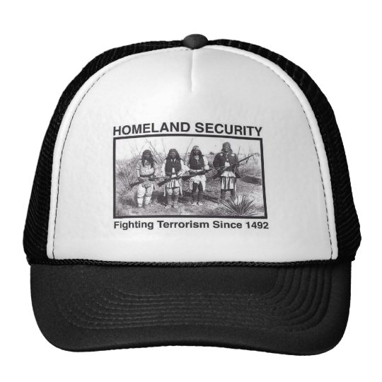 White Photo Indian Homeland Security Trucker Hat