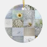 White photography collage ceramic ornament