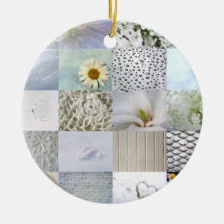 White photography collage ceramic ornament