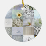 White photography collage Double-Sided ceramic round christmas ornament